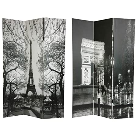 amazoncom oriental furniture 6 ft tall double sided paris room divider eiffel towerarc de triomphe kitchen u0026 dining