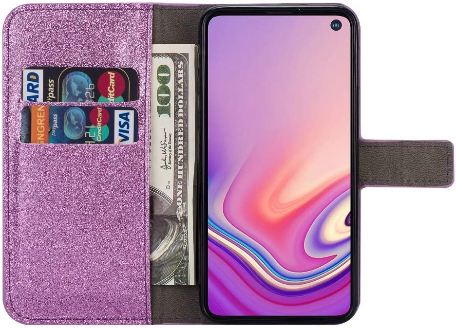 Amocase Glitter Case with 2 in 1 Stylus for Samsung Galaxy S10,Luxury Diamond 3D Crystal Butterfly Flower Magnetic Wallet Leather Stand Case for Samsung Galaxy S10 Gold