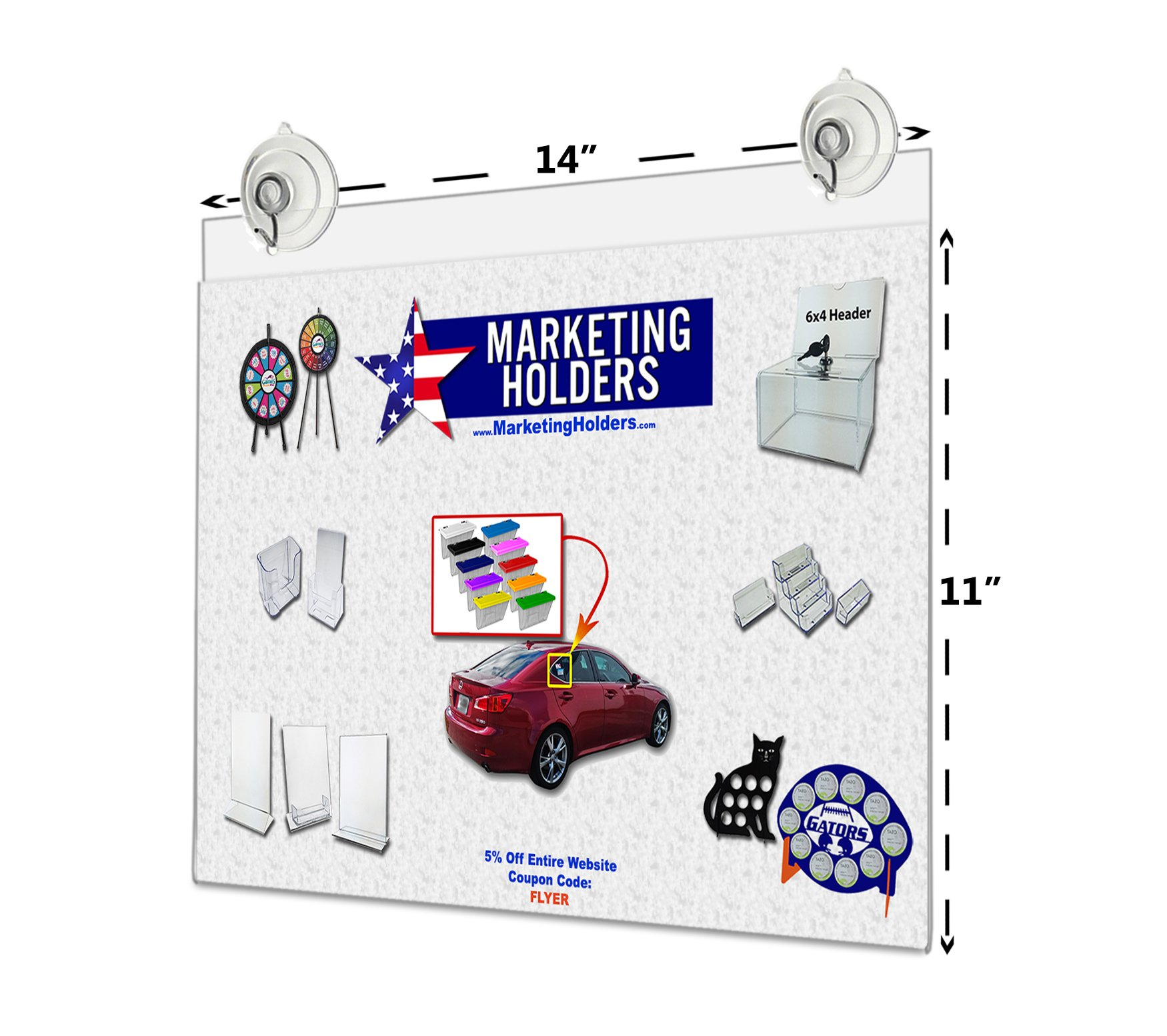 14''W x 11''H Window Mount Ad Frame/Sign Holder with 2 Suction Cups with Hooks