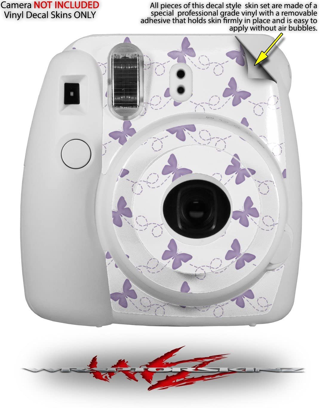 CAMERA NOT INCLUDED WraptorSkinz Skin Decal Wrap for Fujifilm Instax Mini 8 Camera Butterflies Green