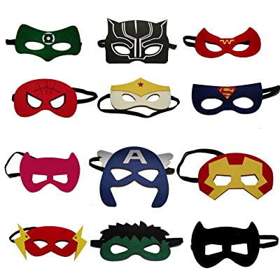 VANVENE Superhero Party Masks for Kids | Includes a new Super Hero Mask | 12 Piece Super heroes Comics Masks are Great for Party Favors & Giveaways for Boys & Girls: Toys & Games