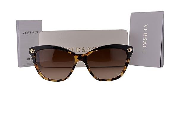 f72d88ced380c Amazon.com  Versace VE4313 Sunglasses Black Havana w Brown Gradient Lens  517713 VE 4313 For Women  Clothing