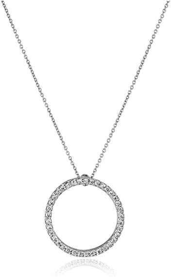 Amazon roberto coin tiny treasures 18k white gold and diamond roberto coin tiny treasures 18k white gold and diamond circle pendant necklace aloadofball Gallery