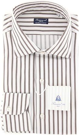Finamore Napoli Stripes Button Down Spread Collar Cotton Slim Fit Dress Shirt