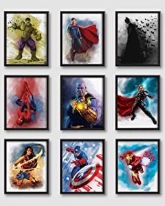Print'N'Art, Superheroes Watercolor Prints - 8x10 Inches Unframed Set of 9, Hulk, Superman, Batman, Spiderman, Thanos, Thor, Wonderwoman, Captain America, Ironman, Superhero Posters For Boys Room