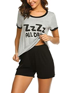 b64caaad77705e Ekouaer Pajamas Women s Cartoon Print Tee and Ruffles Short Sleepwear Pjs  Sets