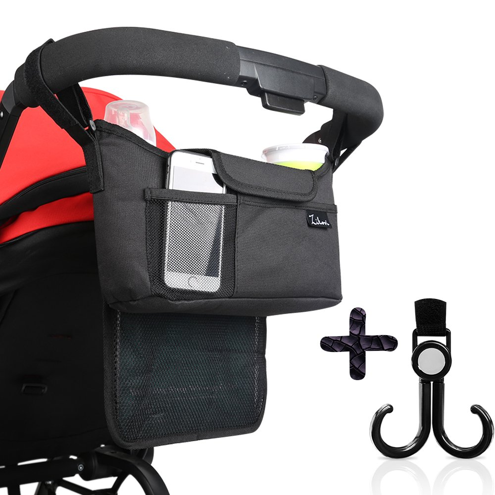 Stroller Organizer with Two (2) Insulated Cup Holders -Universal and Unisex with Large Storage Space for Diapers,Toys, Keys, Phone + Stroller Hooks- by Zikori