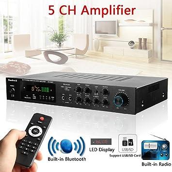 Amplificador de Potencia de Alta fidelidad estéreo de Sonido Envolvente de 220V 5 Canales Bluetooth: Amazon.es: Electrónica