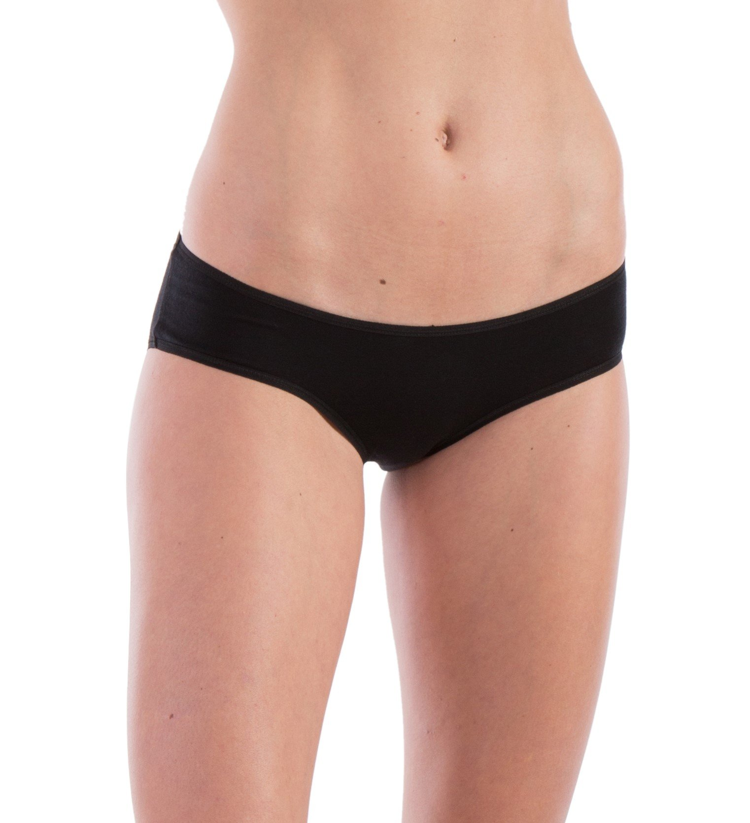 Woolly Clothing Women's Merino Hiphugger Brief - Moisture Wicking, Anti-Odor, Casual Athletic wear XL BLK