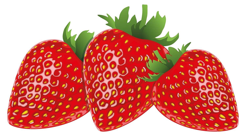 Wandtattoo Küche Rote Erdbeeren im Set Wandsticker Obst Dekoration Esszimmer