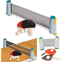FiNeWaY Instant Indoor Outdoor Table Tennis Game Portable Travel Ping Pong Ball Set Extendable- Fun Time Anywhere - Adjustable Length - Fits Any Table