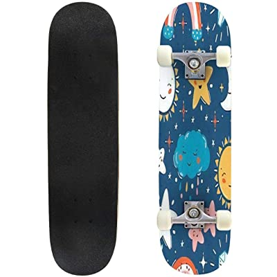 Classic Concave Skateboard Vector Background with Little Cute Smiling Weather Celestial Bodies Longboard Maple Deck Extreme Sports and Outdoors Double Kick Trick for Beginners and Professionals : Sports & Outdoors