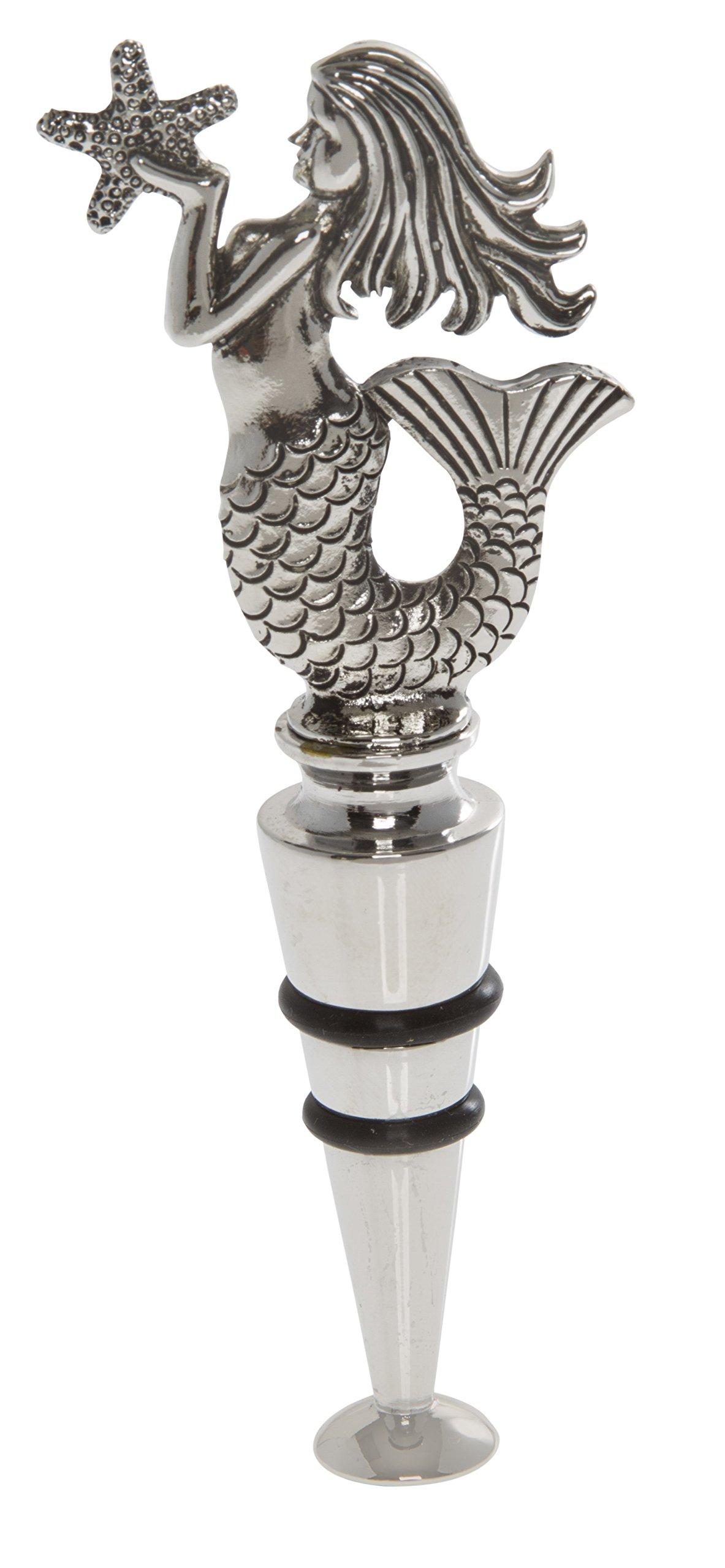 Thirstystone Mermaid Wine Stopper, Silver