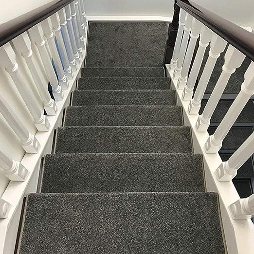 DaPeng Alfombra para La Escalera, Juego de 13 Alfombras de Fibra Química Escaleras para Interiores Al Aire Libre, Sin Pegamento, Autoadhesiva, Lavable (Color : Gray, Size : 90 * 24 * 3cm): Amazon.es: Hogar