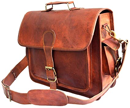 5d0c13e4e Amazon.com   Men's Large Pocket Dakota Brown Leather Messenger Bag (11