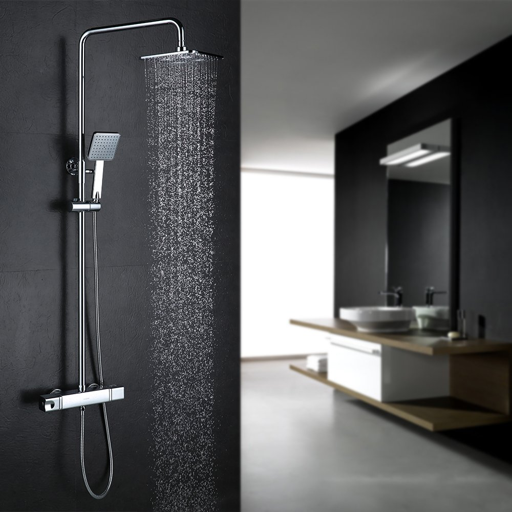 Homelody Plateada C Termostato incorporado Columna de ducha Set de Ducha Conjunto