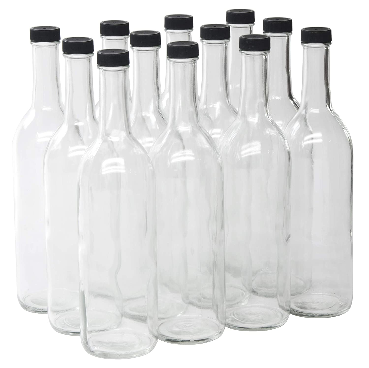 fa52f356615a North Mountain Supply 750ml Clear Glass Bordeaux Wine Bottle Flat-Bottomed  Screw-Top Finish - with 28mm Black Metal Lids - Case of 12