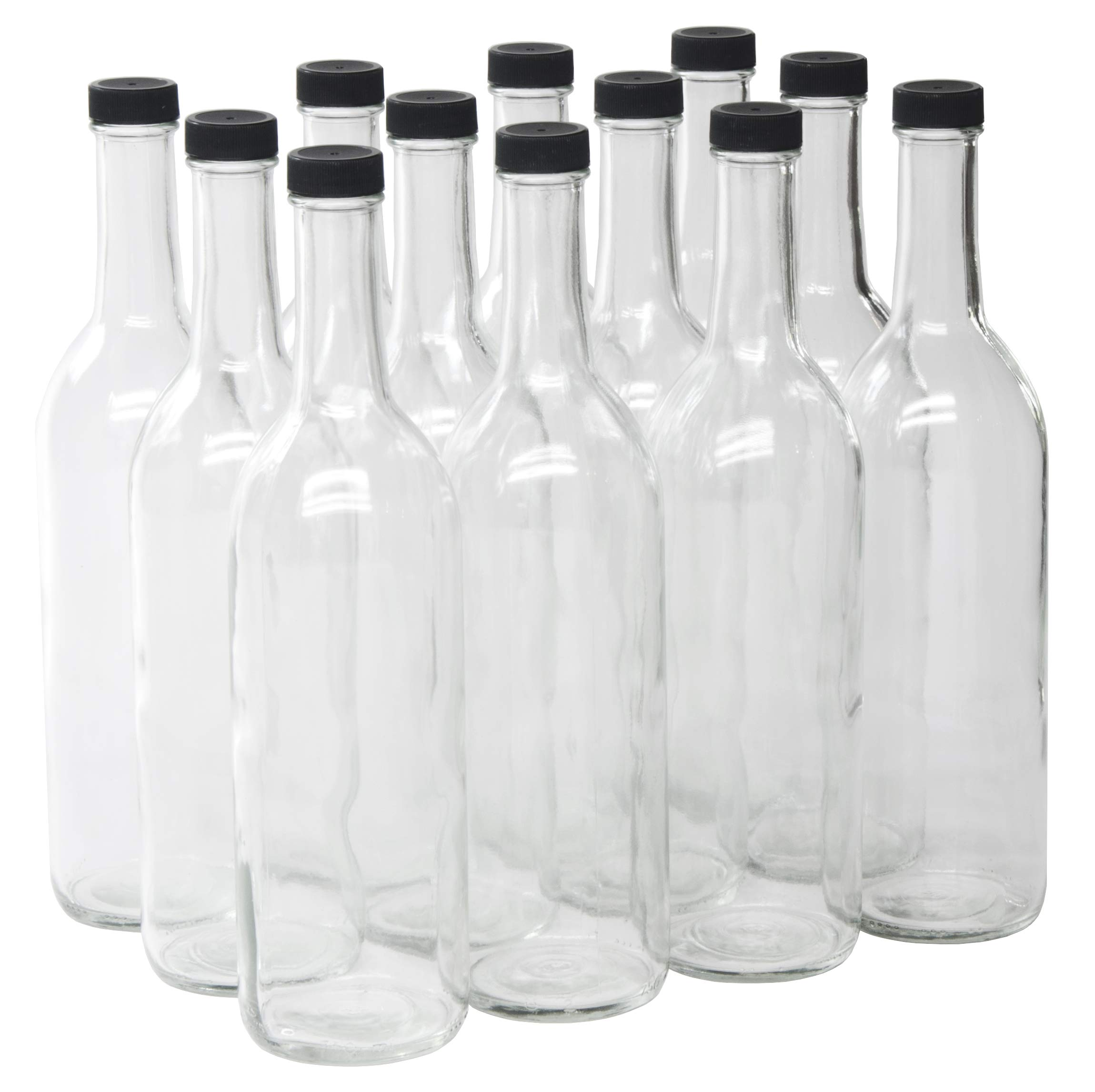 North Mountain Supply 750ml Clear Glass Bordeaux Wine Bottle Flat-Bottomed Screw-Top Finish - with 28mm Black Plastic Lids - Case of 12