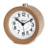 FiBiSonic® アナログ 目覚まし時計 連続秒針 置き時計 アラームクロック ライト付き スヌーズ 丸型 ナチュラル風 S01(ナチュラル)