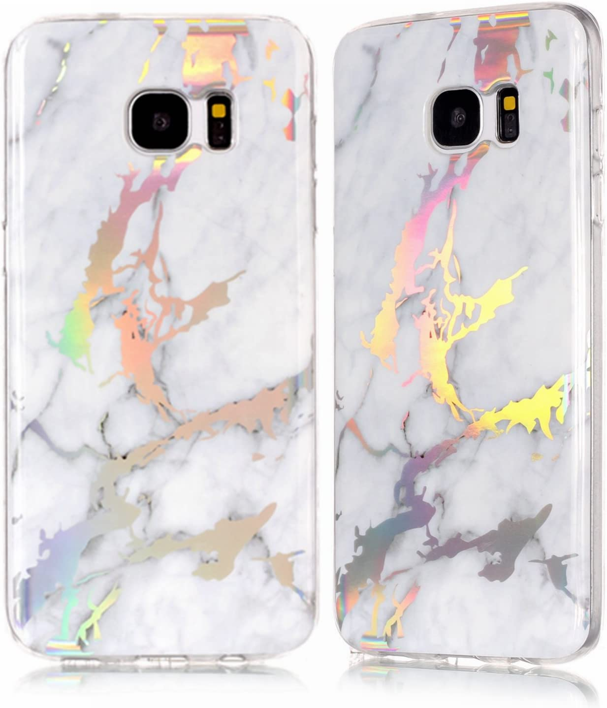 DAMONDY Galaxy S7 Edge Case,3D Shiny Marble Glitter Ultra Thin Slim Back Skin Full Body Protective Soft TPU Rubber Bumper Case Phone Cover for Samsung Galaxy S7 Edge-Whit