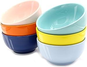 Youngever 28 Ounce Porcelain Bowls, Large Cereal Bowls, Large Soup Bowls, Microwave Safe, Dishwasher Safe, Set of 6 in 6 Assorted Colors