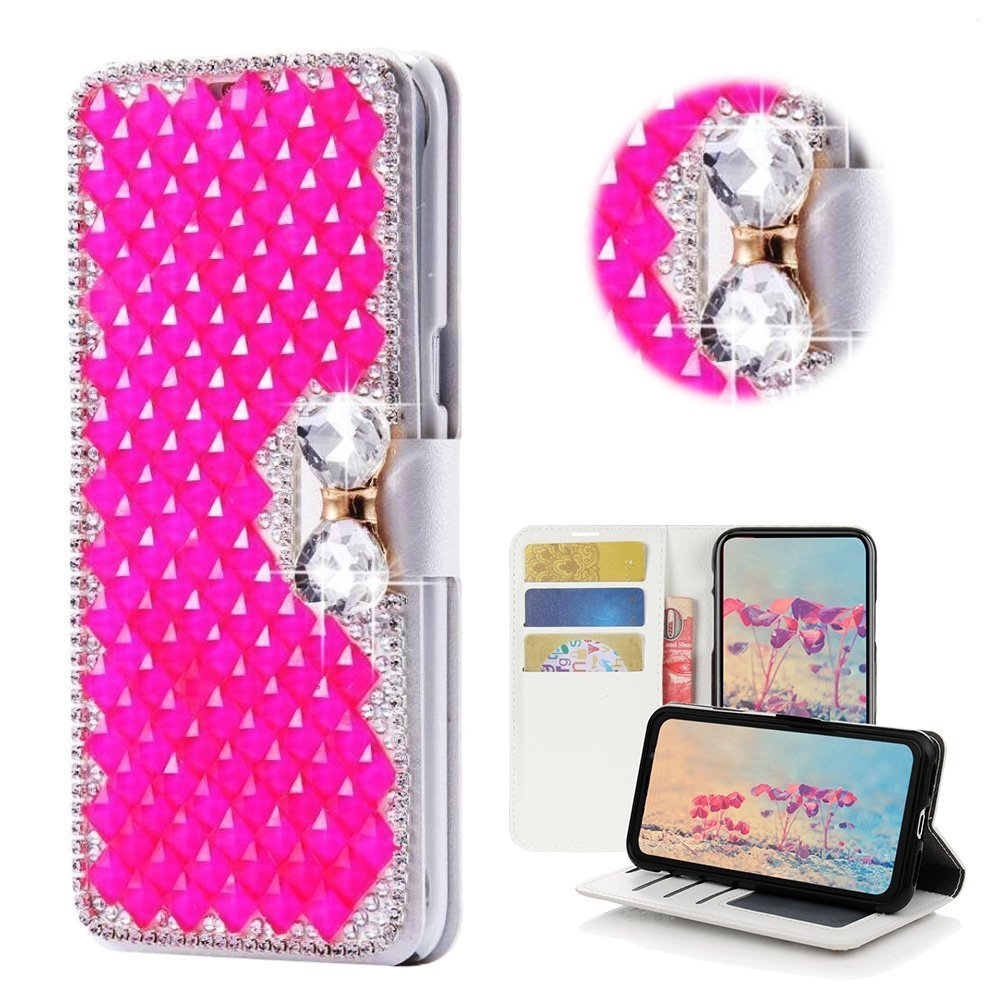 Spritech LG G6 Wallet Case, [Card Slot] Design Floral 3D Handmade Bling Crystal Diamonds Butterfly with Card Slots Folio Stand PU Leather Wallet for LG G6/LG G6 Plus
