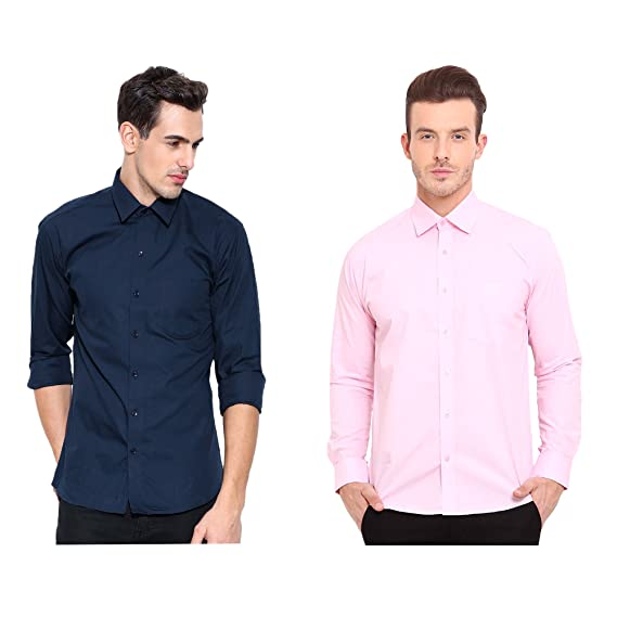 42e6bf2721 Oshano Combo of Men s Casual Plain Cotton Navy Blue and Royal Blue Shirt  Cotton Shirt