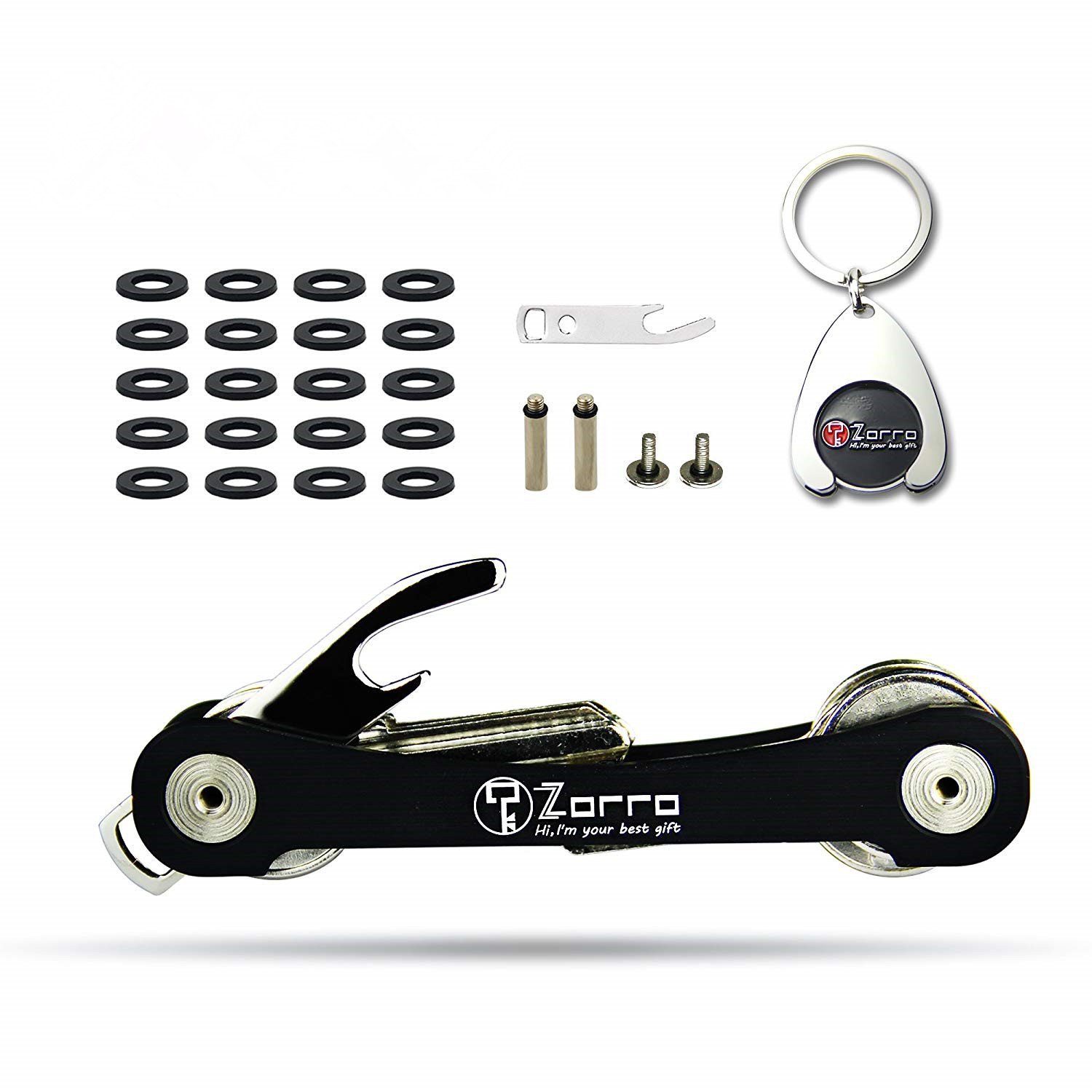 Smart Compact Key Holder keychain By Zorro- Made Of Aircraft Aluminum Alloy - Smart Pocket Key Organizer Up To 18 Keys- Lightweight, Strong (Black) 2A02