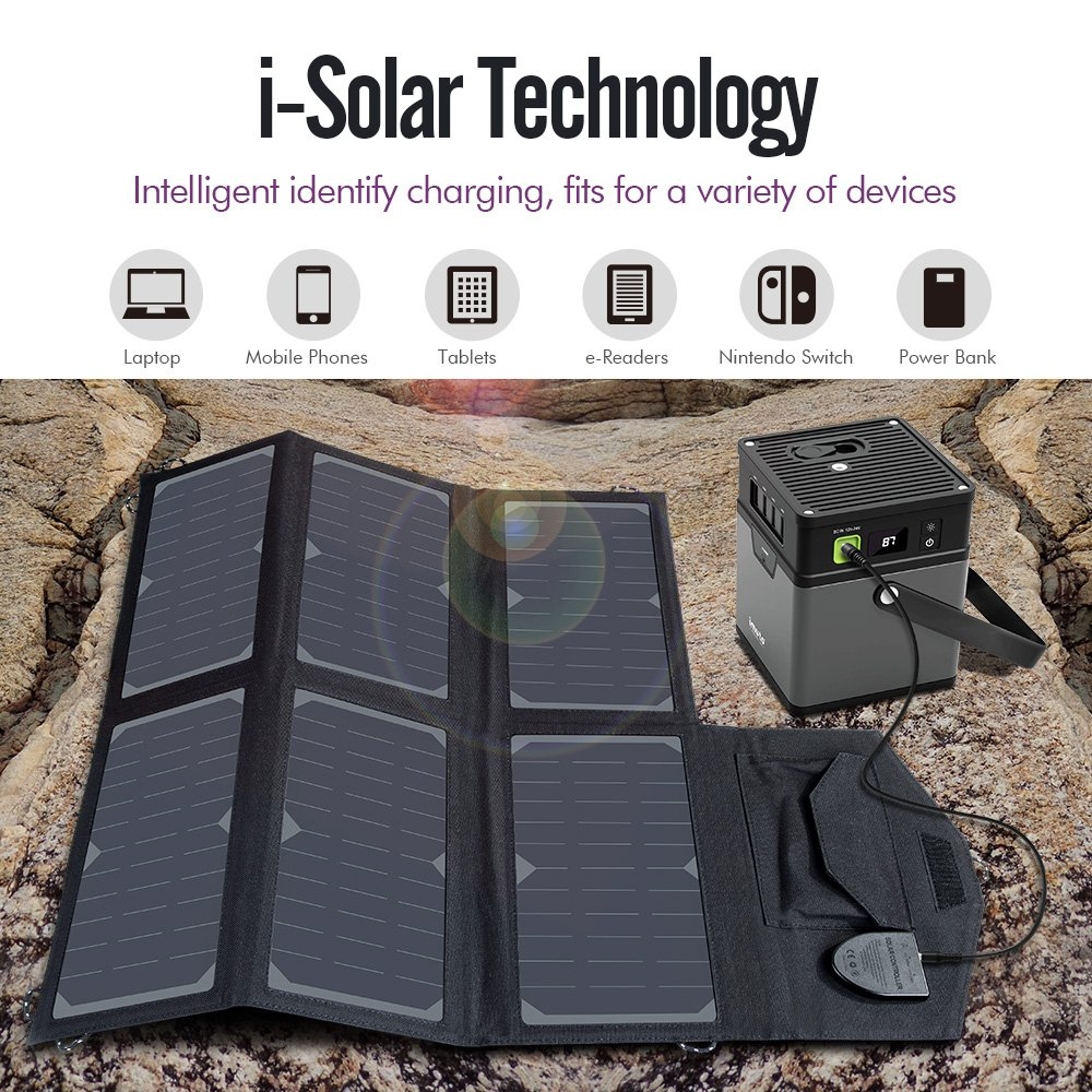imuto 36W Solar Charger Solar Panel with 5V 2.7A USB Output + 18V 1.5A DC Output SunPower Foldable High Efficiency Charger for Laptop, iPad, iPhone, Samsung, Acer, Dell, HP, Lenovo and more by imuto (Image #3)