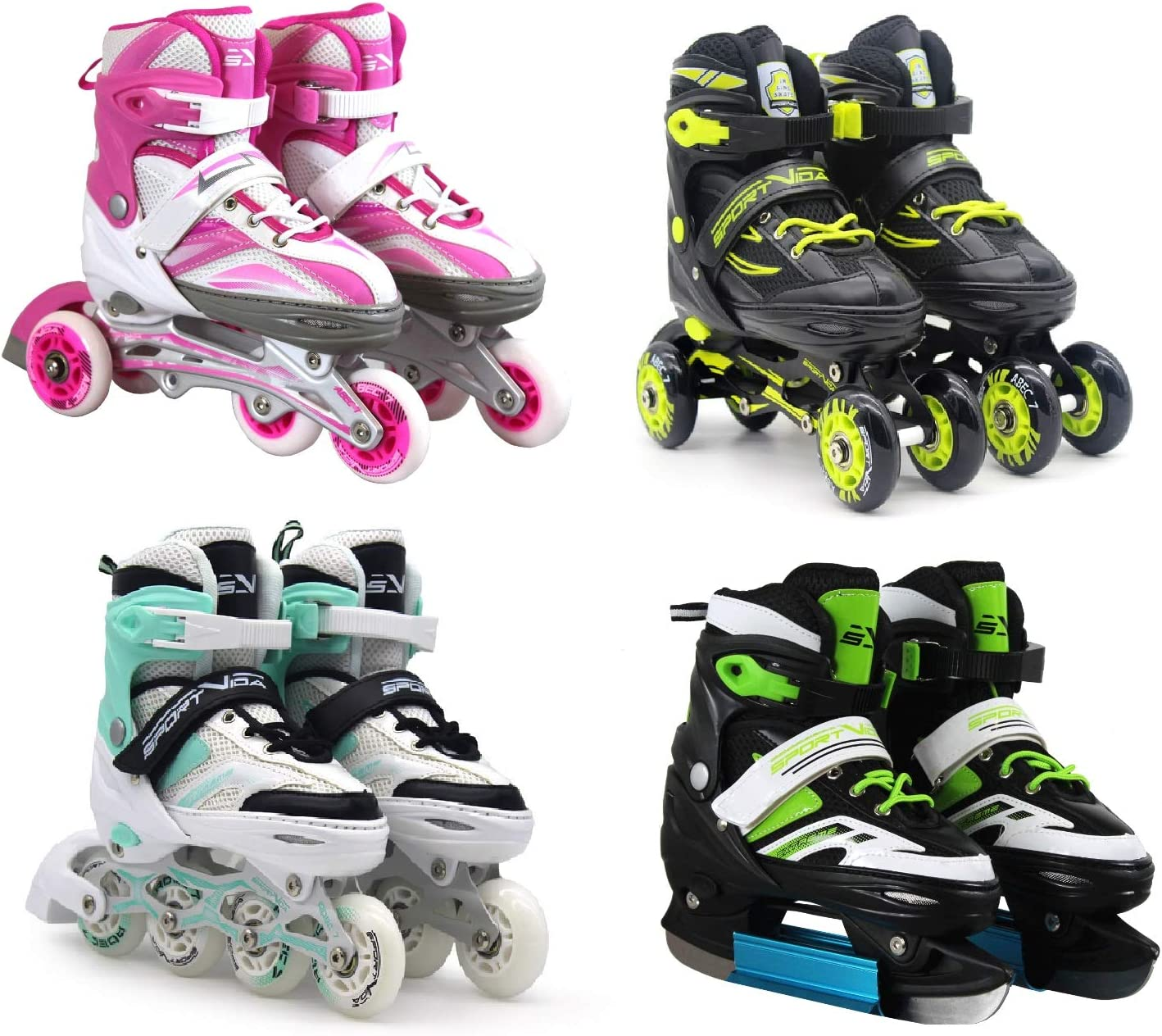 Patins /à roulettes//glace 4 en 1 SportVida Taille r/églable Pour enfants et adultes