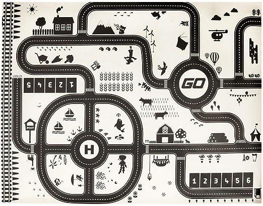 Domybest Tapis de Jeu pour Enfant Tapis Circuit de Jeu Tapis avec Route Noir et Blanc Plan de Ville Tapis de Voiture Enfant Cadeau 130x100cm