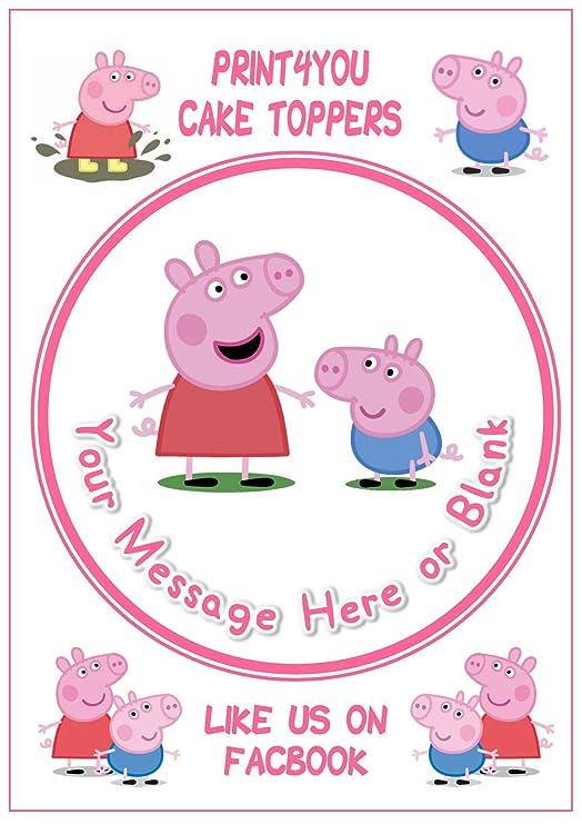 ND1 rosa de Peppa Pig y George cumpleaños personalizable ...