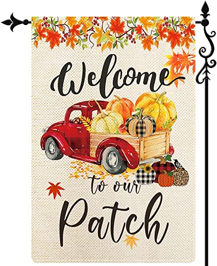 Amazon Com Coskaka Welcome To Our Patch Garden Flag Red Truck Autumn Harvest Maple Leaf Vertical Double Sided Rustic Farmland Burlap Yard Lawn Outdoor Decor 12 5x18 Inch Garden Outdoor