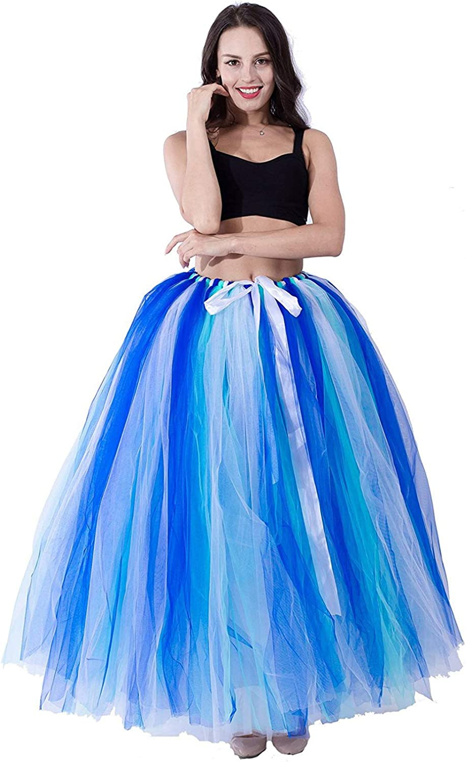 Women's Floor Length Puffy Tutu Large special price Tulle Dress Fort Worth Mall Fairy Skirt Fancy We
