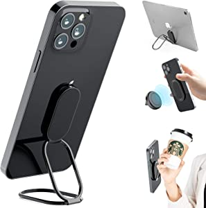 Phone Ring Holder Finger Kickstand, 360° Rotation Metal Phone Grip for Magnetic Car Mount Foldable Cell Phone Stand Compatible with All Smartphones