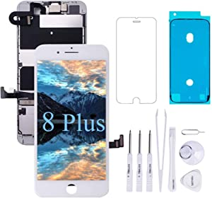 VANYUST for iPhone 8 Plus Screen Replacement LCD Display Touch Digitizer with Front Camera and Earpiece Compatible for iPhone 8 Plus White