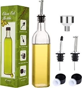 Aozita 17oz Clear Glass Olive Oil Dispenser Bottle - 500ml Oil & Vinegar Cruet with Pourers and Funnel - Olive Oil Carafe Decanter for Kitchen