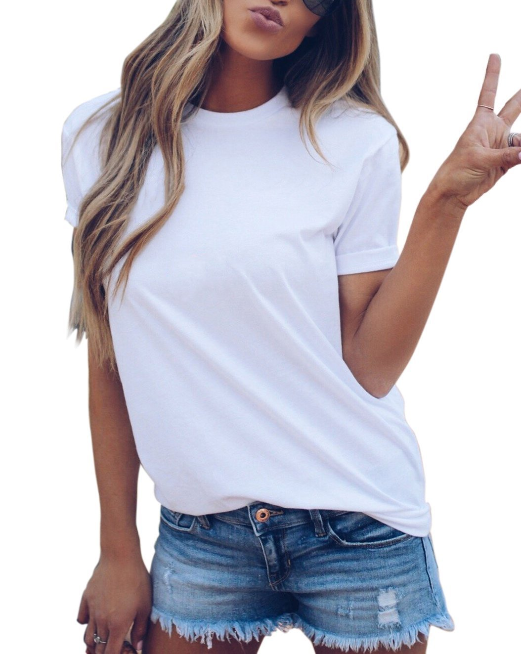 LOVFEE Women's Basic Solid Short Sleeve Loose Casual T-Shirts(O-Neck/White/M)