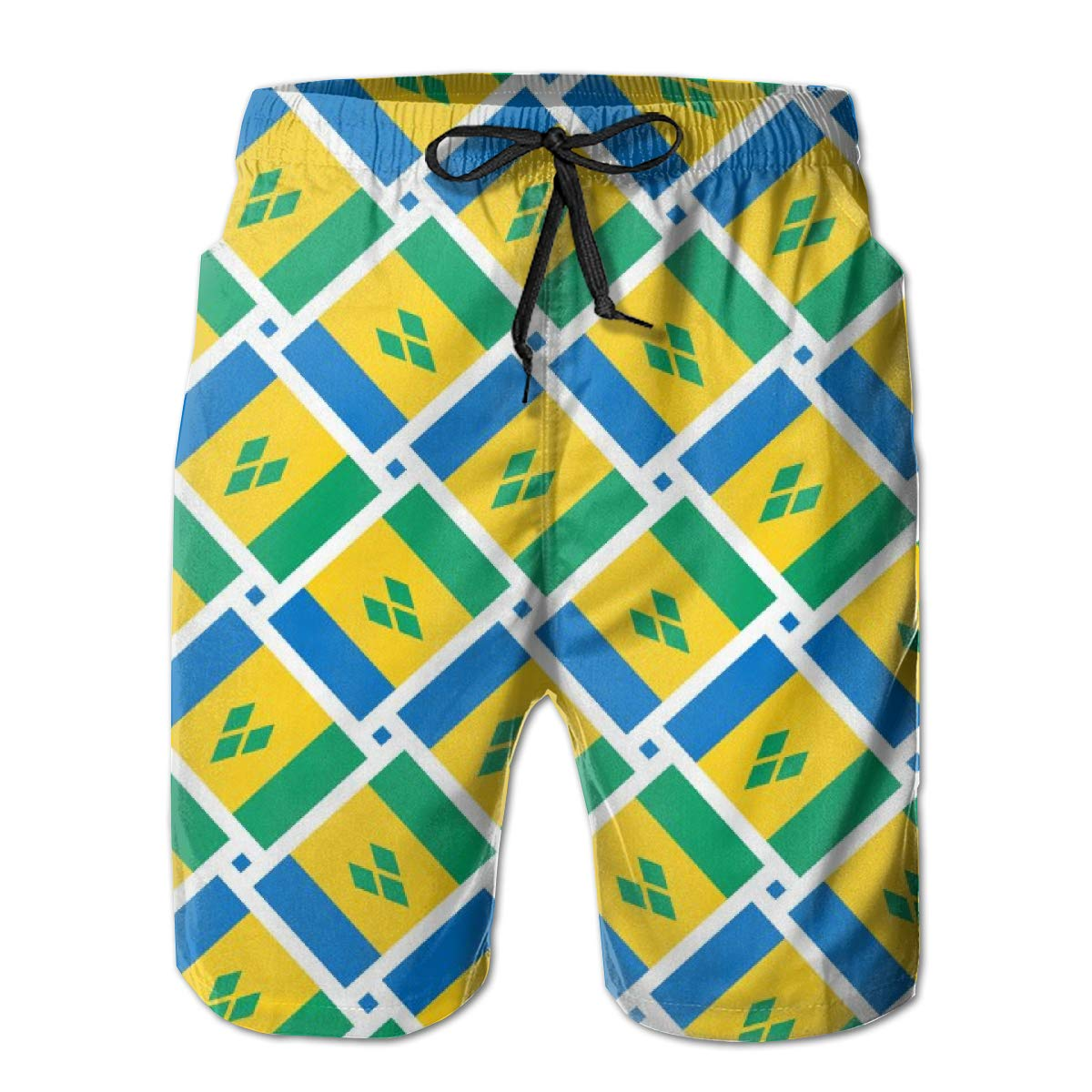 FUNSTYEET Saint Vincent and The Grenadines Flag Weave Mens Board Shorts Swim Mesh Lining and Side Pocket