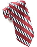 The Tie Bar 100% Woven Silk Burgundy Bar Striped Tie
