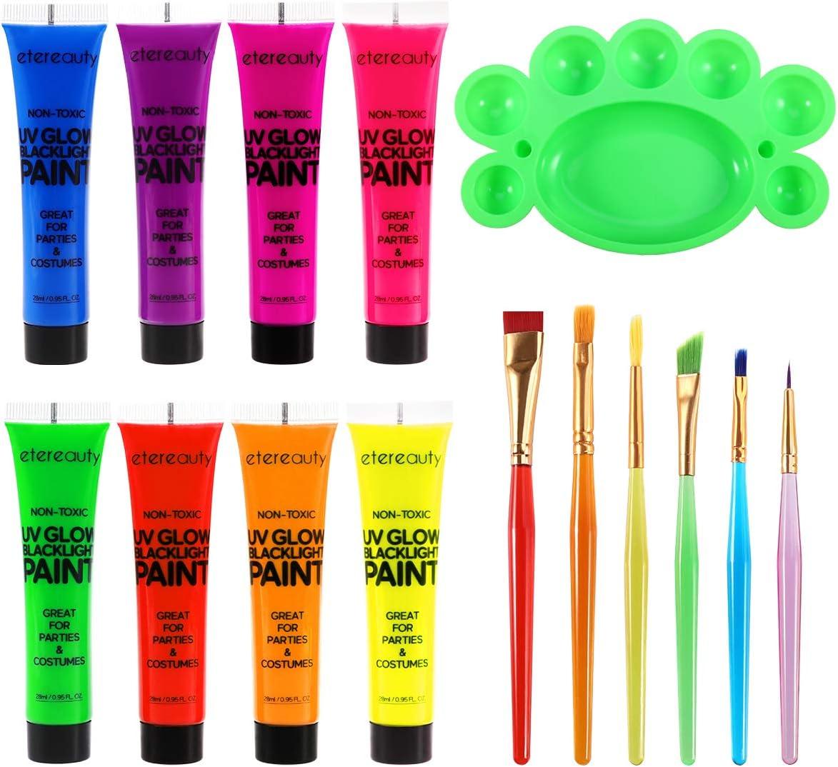 ETEREAUTY Tubos de pintura UV para rostro y cuerpo de luz negra Conjunto de 8