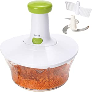 Brieftons Express Food Chopper: Large 6.8-Cup, Quick & Powerful Manual Hand Held Chopper / Mixer to Chop Fruits, Vegetables, Herbs, Onions for Salsa, Salad, Pesto, Hummus, Guacamole, Coleslaw, Puree