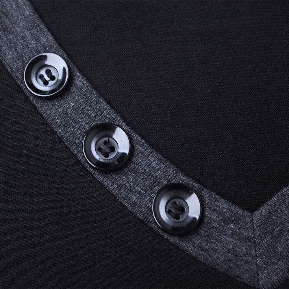 aliveGOT Mens Long Sleeve V-Neck Henley Contrast Color Cotton Slim Fit Tee Shirt
