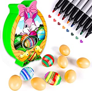 Augtoy Easter Egg Coloring Kits Machine with 10 Eggs 8 Markers, Egg Dye Kit Spinner Machine Easter Basket Stuffers DIY Craft Toy Easter Decorations Gift Present for Kids Toddlers Boys Girls