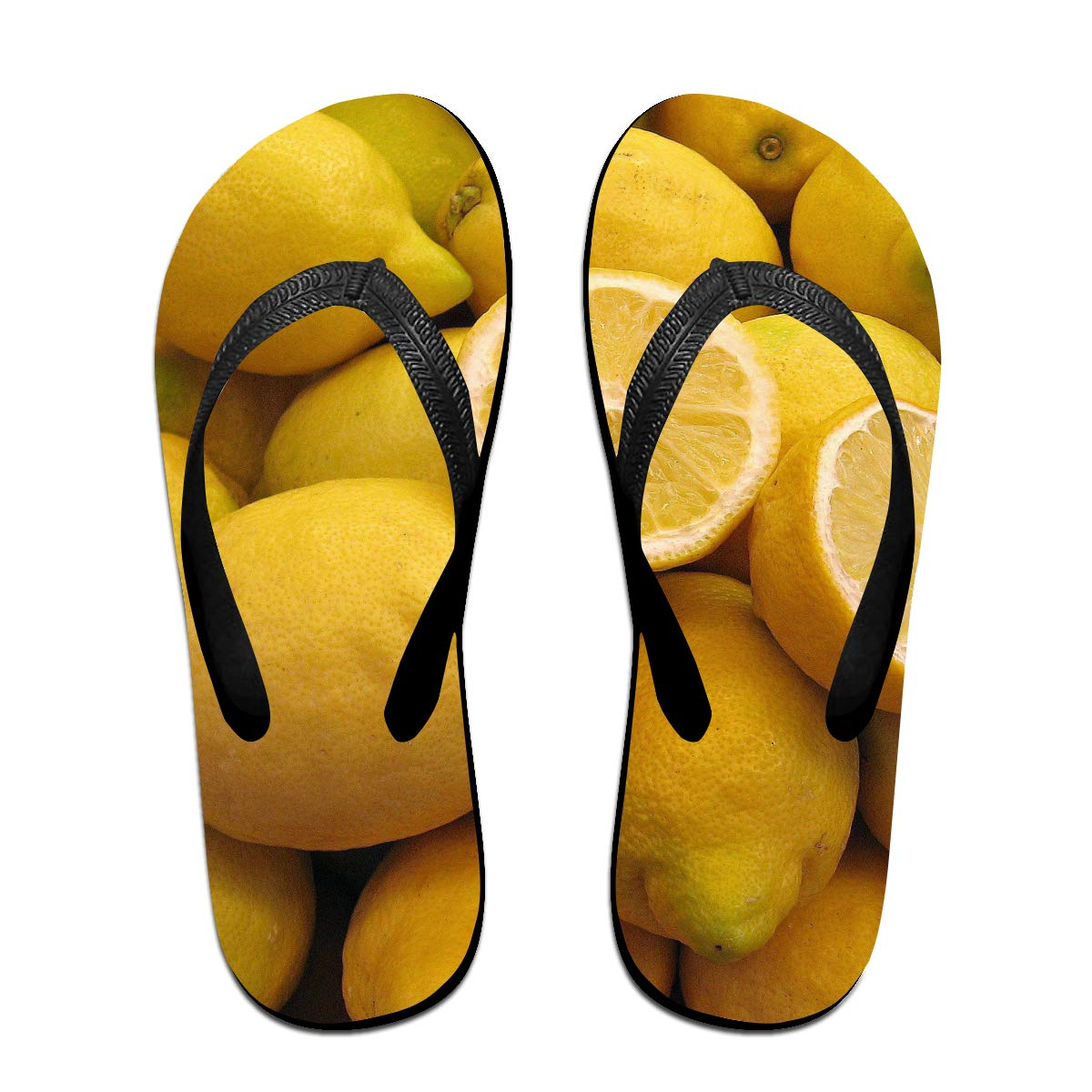 Lojaon Couple Slipper Lemon Close Up Photo Print Flip Flops Unisex Chic Sandals Rubber Non-Slip Beach Thong Slippers