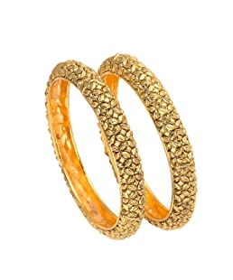 Geode Delight Vintage Style Gold Plated Copper Kadaa Bangle Set For Women (2.8)