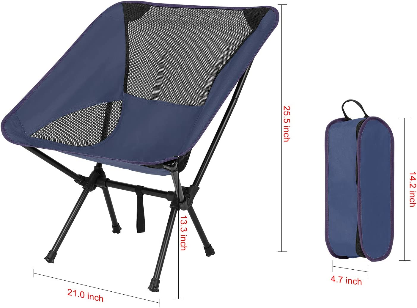 DIAHOUD Camping Chairs Fishing Beach Chair Portable Ultralight,with Carry Bag,Compact Folding Camp Chairs Heavy Duty 230lb Capacity for Outdoor Camp,Hiking,Picnic-Navy