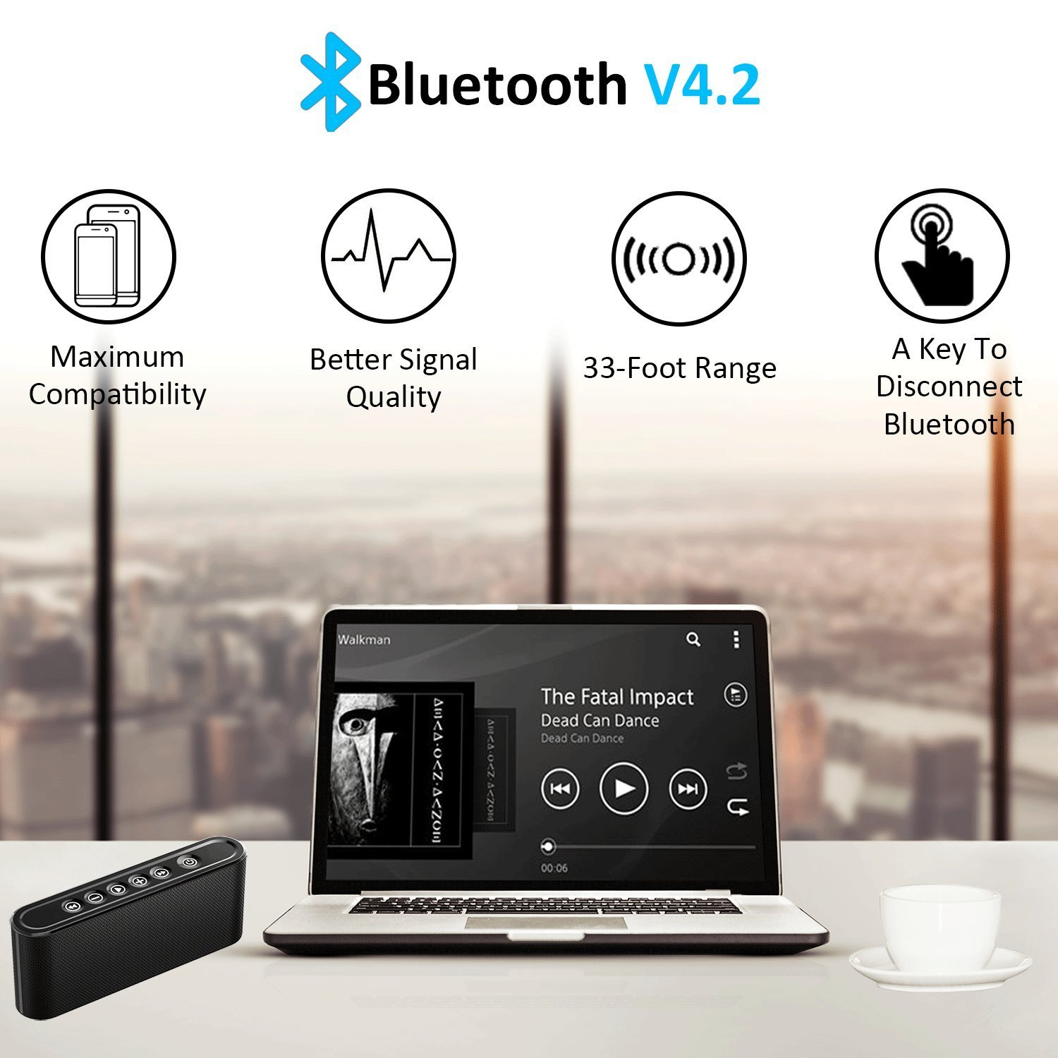 Bluetooth Speakers, 6W Touch Metal Speakers, Mini Portable Bluetooth 4.2 Wireless with Super Bass, Treble Stereo Subwoofer, Support TF Card, USB Disk, 3.5mm AUX Input,Mobile Computer Accessories by WORENMI (Image #5)