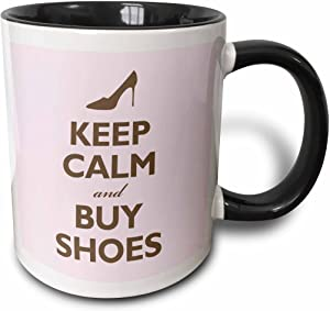 3dRose Keep calm and buy shoes, Pink Mug, 11 oz, Black