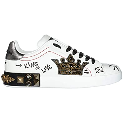 881dc4878f49 Dolce   Gabbana Chaussures Baskets Sneakers Homme en Cuir Portofino Blanc  EU 43 CS1570 AH505 HWF57